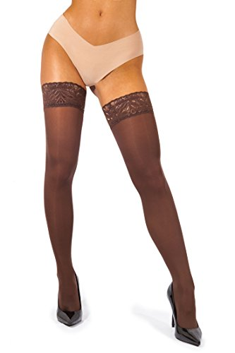 sofsy Lace Thigh High Opaque Hold Up Nylon Pantyhose Stockings Silicone Top 60 Den [Made in Italy] Brown 5 - X-Large