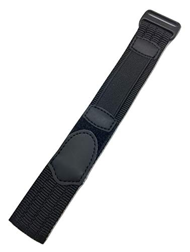 18-20mm Adjustable-Length, Black, Nylon Sport Watch Strap