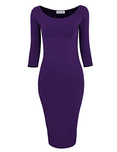 (TAM WARE Womens Classic Slim Fit Bodycon Dress TWFR049-D059-PURPLE-US XXL)