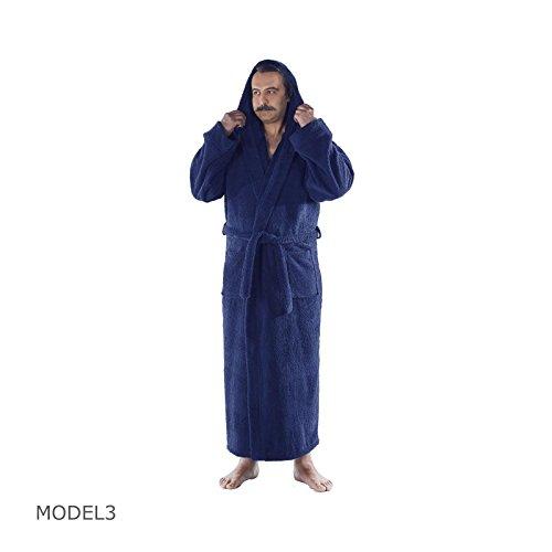 Robe Hooded Blue (Arvec Men's Combed Turkish Cotton Terry Full Ankle Length Hooded Bathrobe (Medium/Large, Navy Blue))