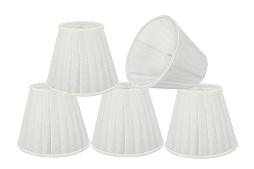 Aspen Creative 33112-5 Small Pleated Empire Shape Chandelier Clip-on Lamp Shade Set (5) Transitional Design in White, 5