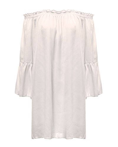 Sexy Bianca Donna Magliette Spalline Estate Maniche Shirt Tops Elegante ZANZEA Lunghe Senza PdqzHP1w