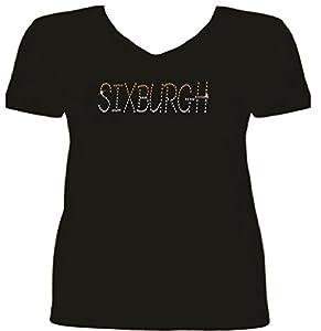 Pittsburgh Football Six-Burgh Rhinestone Women T Shirt SV QXJ9 at Steeler Mania