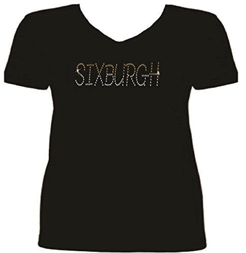 Pittsburgh Football Six-Burgh Rhinestone Women T Shirt SV QXJ9 at Steeler Mania