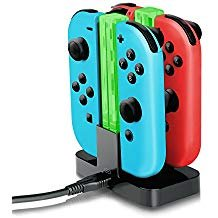 Joy-Con Charger,YockTec Nintendo Switch Joy-Con Charging Dock Stand 4-Controllers with light Charger Black) (Surface Pro 4 Plugged In Not Charging)