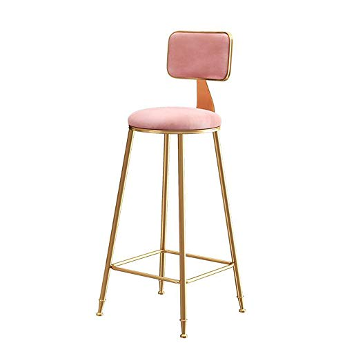 Chairs MEIDUO Bar stools Bar Stools,Bar with Backrest Kitchen Pub Counter Velvet Cushion Kitchen Breakfast Barstool Gold 22.5