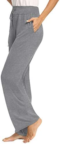PACBREEZE Women's Loose Yoga Pajama Pants Wide Straight-Leg Casual Workout Running Sporting Active Pants with Pockets 6