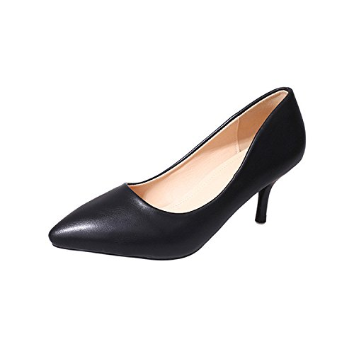 shoes Shallow with sharp high the of size single job mouth Black Fine heels with the qS18X8w