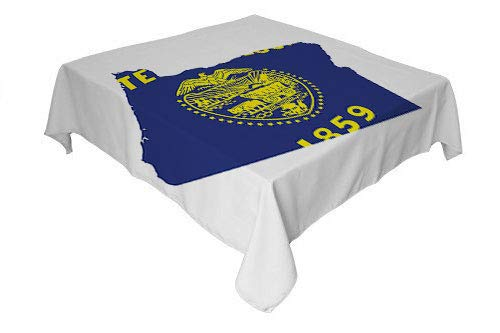 (Oregon Picnic Cloth Map and Waving Flag of US State Beaver State Heart Shape Shield The Union Cobalt Mustard White tablecloths Party Decorations Square tablecloths 50 by 50 inch)