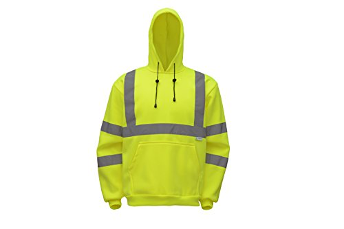 Class Hoodie (CJ Safety CJHVSS3003 ANSI Class 3 High Visibility Hoodie Long Sleeve Safety Fleece Pullover Sweatshirt (3XL, Green))