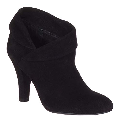 (ENZO ANGIOLINI Women's Black Suede Round Toe High Heel Ankle BootsShoes, 5.5 B(M) US,)