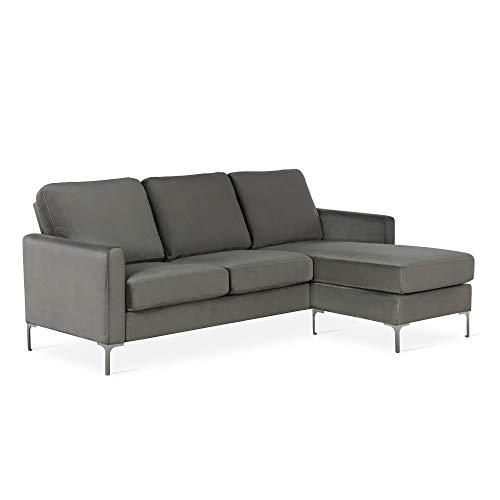 Novogratz DA037SEC Chapman Chrome Legs, Gray L-Shaped Sectional Sofa,