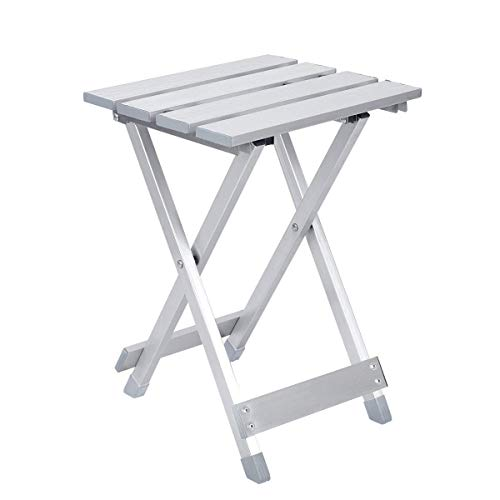 Pinze Folding Side Table Supports to 220 lb, Aluminum Camp Table, Small Patio Table, Outdoor End Table, Outdoor Side Tables, Heavy Duty Metal Step Stool, 11.2 x 10.4 x 15.7 inch Sliver