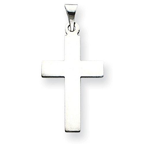 Or blanc 14 carats Pendentif croix-Dimensions :  22 x 14 mm-JewelryWeb