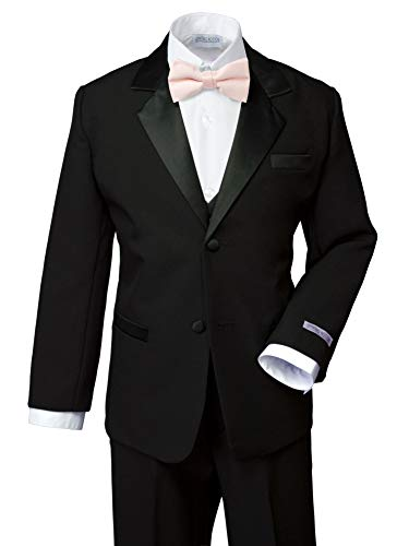 Spring Notion Boys' Classic Fit Tuxedo Set, No Tail 14 Black-Blush Pink