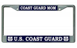 - U.S. Coast Guard Mom Chrome License Plate Frame