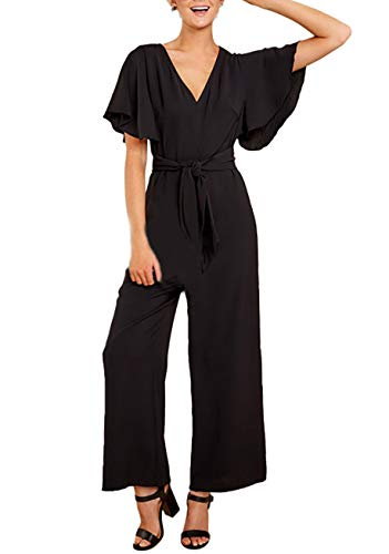 Logtem Womens Elegant Ruffle Short Sleeve V Neck Palazzo Pants Jumpsuit Black XL