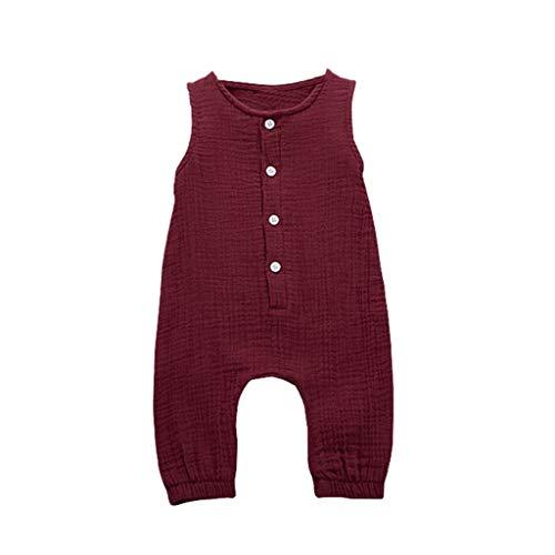 (Huaze Gift Infant Baby Boys&Girls Cotton Linen Romper Summer Solid Color Ruffles Vest Comfortable Jumpsuit Clothes (Wine, 6-12 Months))