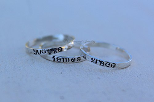 Personalized Sterling Silver Stackable Rings - Customizable
