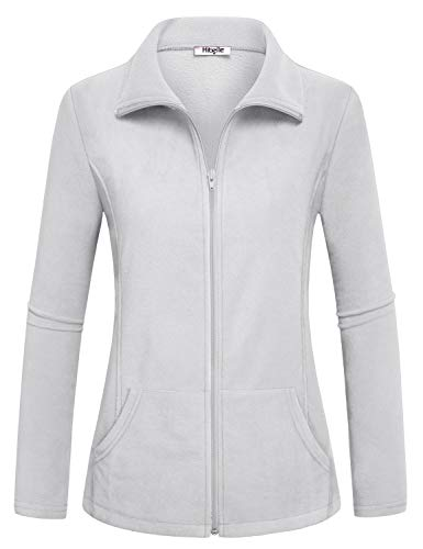 Hibelle White Fleece Jacket Women, Winter Full Zip Polartec Heated Tops Long Sleeve Pockets Plain Form Fitting Shirts Spring Weatherproof Freezer Cooler Casual Wear White X Large ()