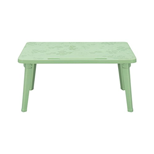 Laptops Table PP Plastic Portable Folding Bed Upper Use Dorm Learn Small Book Desk Rectangle(L60cmW40cmH29cm) (Color : Green) by GZH