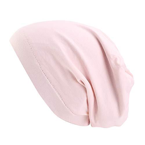 (Premium Sleep Cap Beanie Slap Hat Satin Turban Cotton Turban Satin Silk Lined Cotton Outer Chemo Caps (Shell Pink))