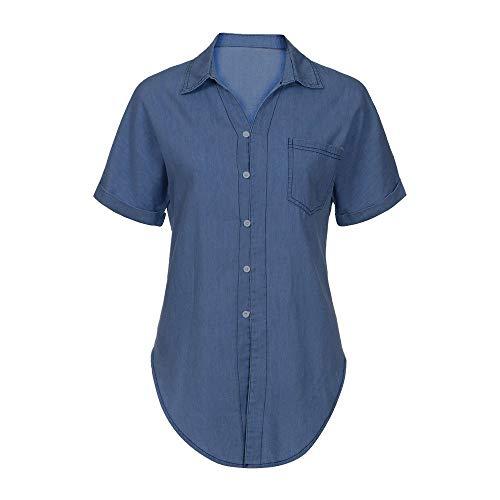 Risaho Damen Bluse Kurzarm Cowboy Shirt Leicht Hemd Casual Hemd V-Ausschnitt Casual Oberteile Lose Kurzarmshirt Tops