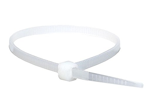 Monoprice Cable Tie 4 inch 18LBS, 100pcs/Pack - White