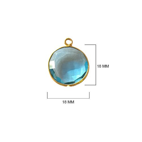 (2 Pcs Blue Topaz Coin Beads 18mm 24K gold vermeil by BESTINBEADS, Blue Topaz Hydro Quartz Coin Pendant Bezel Gemstone Connectors over 925 sterling silver bezel jewelry making)