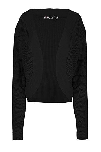 Oops Outlet Femmes Torsade Grosse Maille Tricot Maille Manches Longues Ouvert Front Cardigan Boléro Cache Épaules Grande Taille UK 8-22 - Noir, S/M (EU 36/38)