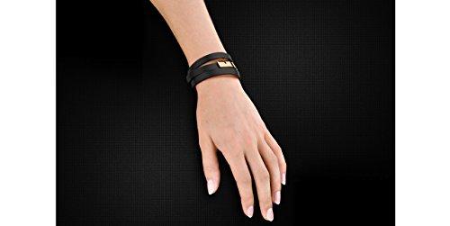 Ursul Bracelet femme en cuir et acier plaqué or 18K U-Turn Triple, noir, M