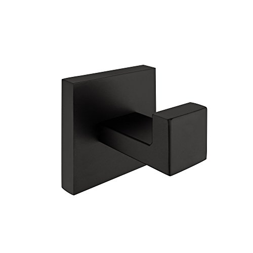 Nolimas Matte Black Towel Coat Hook Stainless Steel Bathroom Clothes Cabinet Closet Sponges Hook Wall Mounted Square Kitchen Heavy Duty Door Hanger 1 Pack by Nolimas