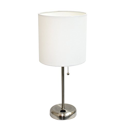 Bright Nickel Pull - Limelights LT2024-WHT Brushed Steel Lamp with Charging Outlet and Fabric Shade, White