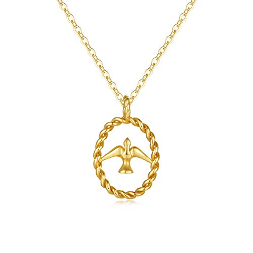 VACRONA Gold Bird Pigeon Pendant Necklaces,18K Gold Filled Dainty Handmade Peace Doves Love Necklaces Jewelry for Women