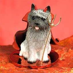 Cairn Terrier (gray) Dog Devil (Devil Dog Figurine)