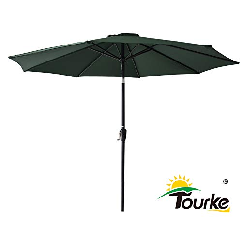 Tourke 9 Ft Patio Table Umbrella Outdoor Umbrella with Push Button Tilt and Crank, 8 Steel Ribs, for Garden, Deck, Backyard, Swimming Pool and More(Dark Green)