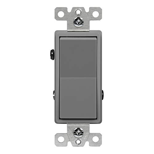 (ENERLITES 3-Way Decorator Paddle Rocker Light Switch, Single Pole or Three Way, 3 Wire, Grounding Screw, Commercial Grade, 20A 120V/277V, UL Listed, 93200-GY, Gray)