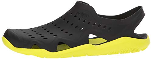 crocs Men's Swiftwater Wave M Flat,black/tennis ball green,4 M US by Crocs (Image #5)
