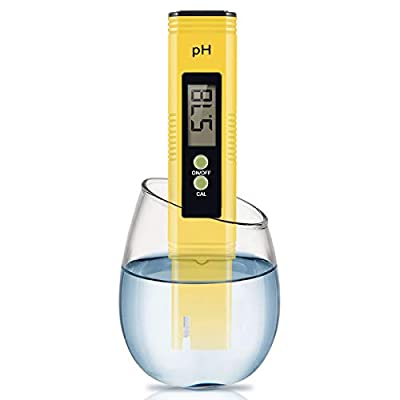 Digital PH Meter, Wellcows PH Meter 0.01 PH High Accuracy Water Quality Tester with 0-14 PH Measurement Range for Household Drinking, Pool and Aquarium Water PH Tester Design with ATC (Yellow) ...