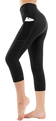 HOFI High Waist Capri Leggings for Women Side & Inner Pockets with Tummy Control Sports Yoga Pants