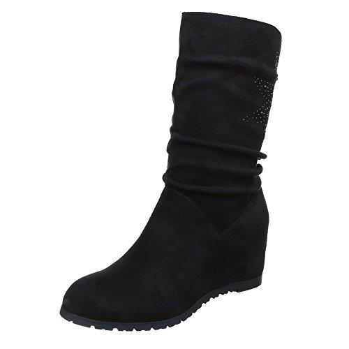 Damen Schuhe Keilabsatz Plateau Reißverschluss Keilstiefel Stiefel Keilabsatz/ Wedge Schwarz