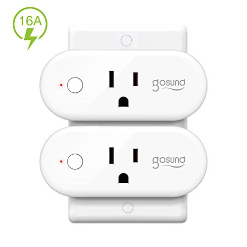 Smart Wifi Plug Works with Alexa Google Home IFTTT, 16A Gosund Smart Outlet Mini Socket with Overload Protection, Reliable Wifi Connection No Hub Required, 2 pack