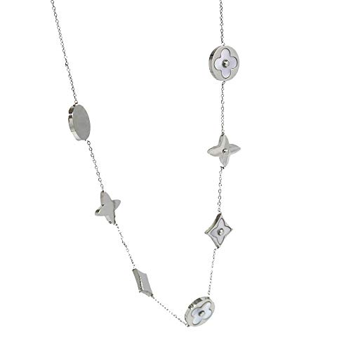 (Baoliren White Shell Titanium Steel Yellow Gold Round Multi Clover Women's Strand Necklace (Silver Color))