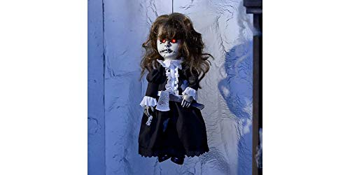 Animated Haunted Doll Halloween Decoration and Prop, 8 1/4
