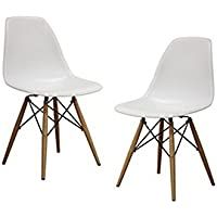Set of 2 Mid Century Modern Eames Style DSW White Side Dining Chair with Dowe...