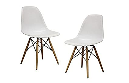 amazon com set of 2 mid century modern eames style dsw white side