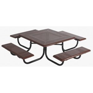 Sports Play 602-698 Early Years Square Picnic Table - 46 Rolled Edge Perforated Steel - Edge Perforated Picnic Table