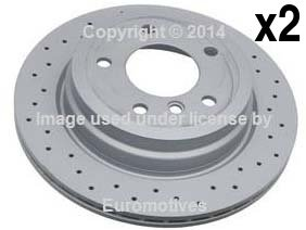 BMW (select 06-13 models) Brake Disc set Rear (x2) CROSS-DRILLED