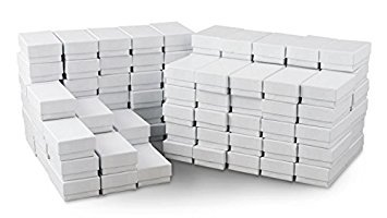 White Jewelry Gift Boxes Cotton Filled #21 (Case of 100) ()