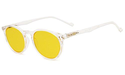 Eyekepper Retro Oval Round Anti-Glare Reduce Eyestrain Computer Glasses with More than 80% Blue Light Blocking Yellow Tint Lens (Transparent Frame, 0.00)